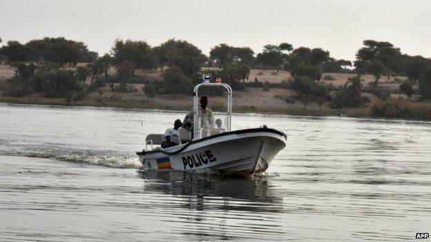 Chadian police patrol Lake Chad