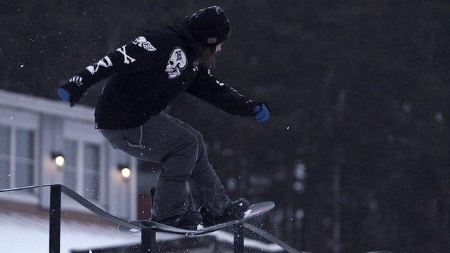 Street snowboarding