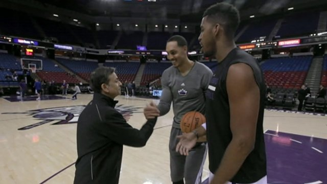 Vivek Ranadive and players from the Sacremento Kings