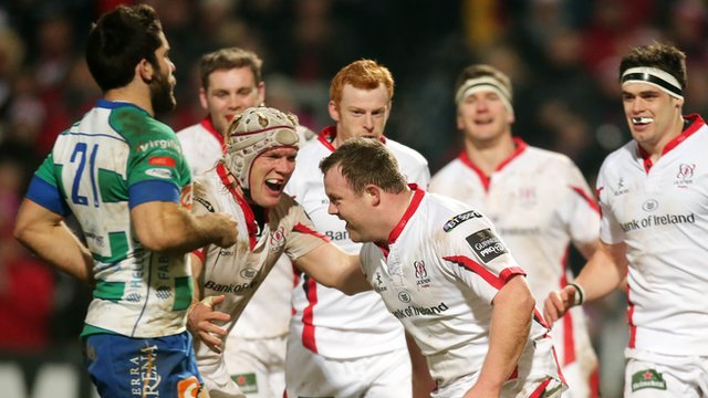 Ulster celebrate Andrew Warwick's try against Treviso