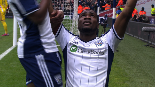 Brown Ideye celebrates his goal.