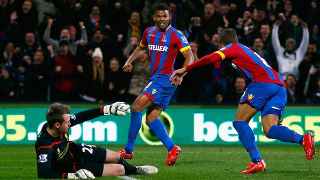 Crystal Palace's Frazier Campbell celebrates his goal against Liverpool.