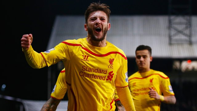 Liverpool's Adam Lallana celebrates his goal against Crystal Palace in the FA Cup.