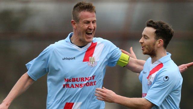 Allan Jenkins celebrates his goal against Institute