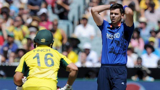 England bowler Jimmy Anderson reacts to Aaron Finch being dropped