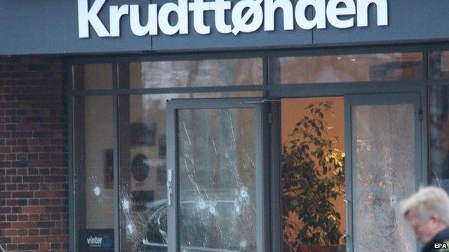 Bullet holes in glass door and windows