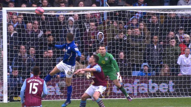 Leicester City's Andrej Kramaric heads a goal for his side against Aston Villa.
