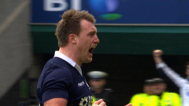 Stuart Hogg celebrates his try for Scotland