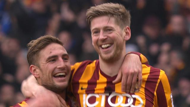 Bradford City's Jon Stead celebrates scoring his side's second goal against Sunderland.
