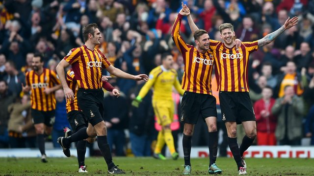 Bradford City's players celebrate beating Sunderland 2-0 in the FA Cup.