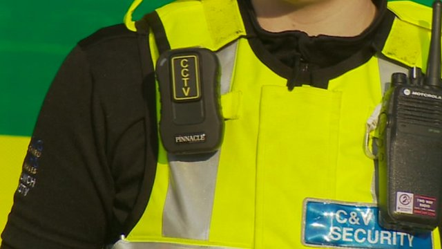 Body camera on security staff member at Cardiff's University Hospital of Wales
