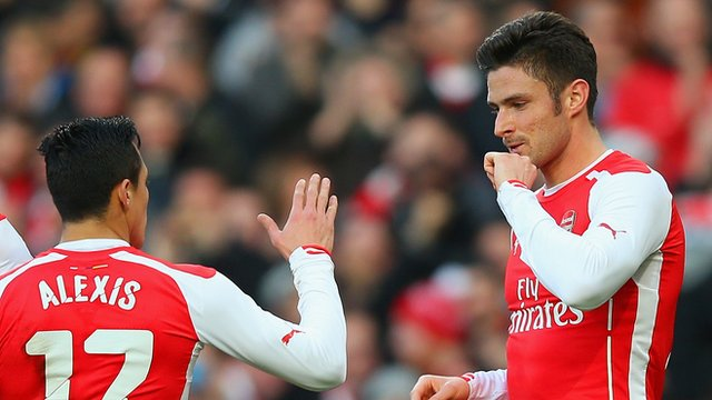 Arsenal's Olivier Giroud and Alexis Sanchez celebrate during the win against Middlesbrough.