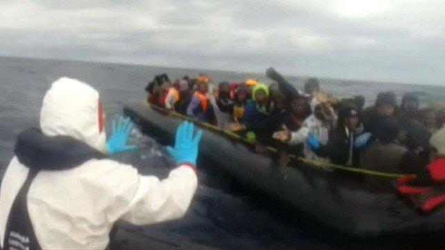 Italian coastguard rescue footage