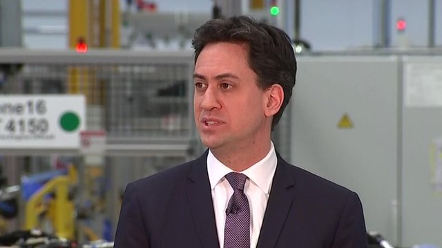 Labour leader Ed Miliband giving a speech on his party's economy plans at Jaguar Land Rover in Wolverhampton