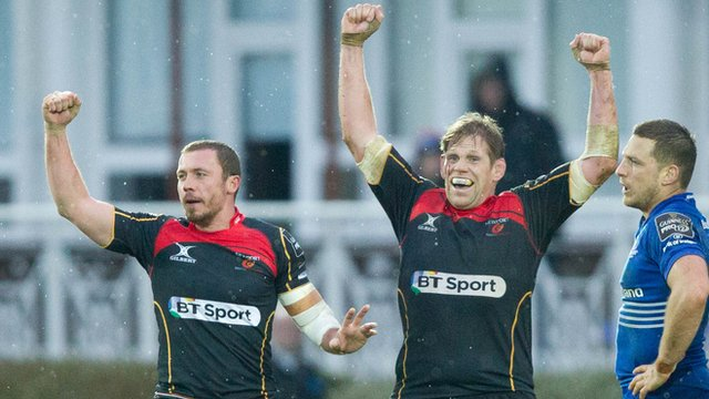 Richie Rees and Rhys Thomas celebrate Dragons win