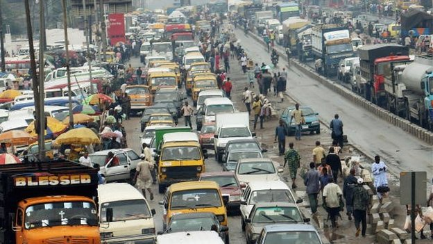 A general view of congested traffic in central Lagos on 15 July 2008 in Lagos, Nigeria