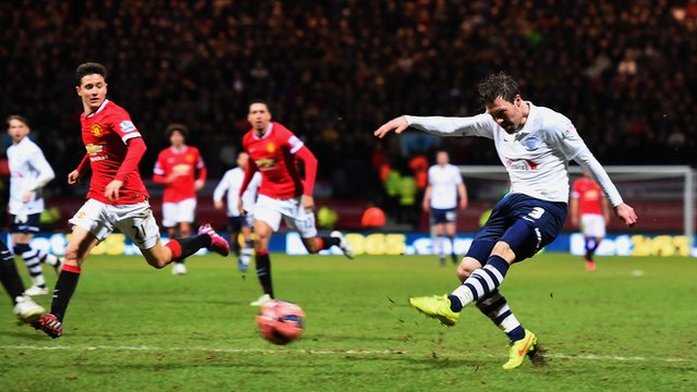 FA Cup: Scott Laird gives Preston lead over Manchester United