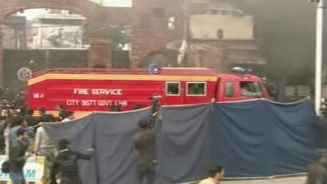 Emergency services at the scene of the attack in Lahore