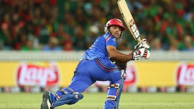 Najibullah Zadran of Afghanistan bats against Bangladesh