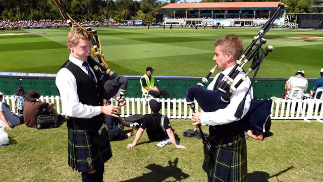 Two bagpipe players at the New Zealand v Scotland match