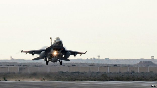 Egyptian air force fighter after air strike in Libya (16 Feb) - Egyptian defence ministry handout