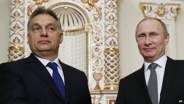 Viktor Orban and Vladimir Putin at their meeting in Moscow on 14 January 2014
