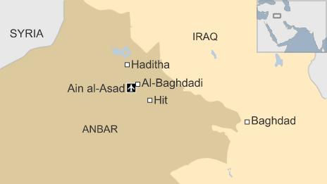 Map of Iraq showing location of al-Baghdadi