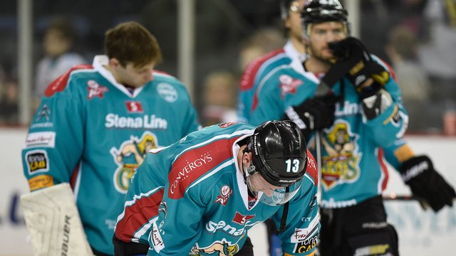 Disappointed Belfast Giants players