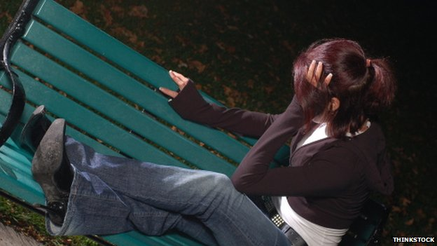 Unidentified girl on bench