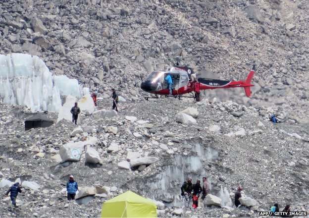 rescue helicopter at Everest base camp