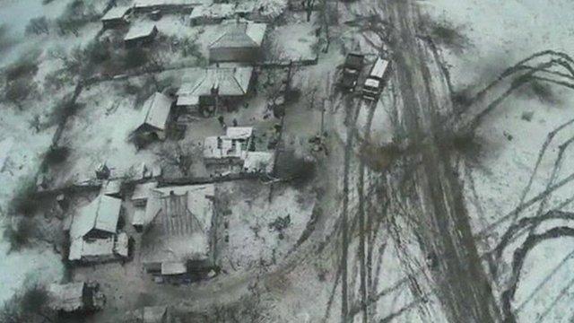 Still from drone footage over Debaltseve