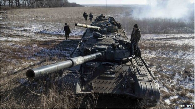 Two tanks manned by pro-Russian separatists in Ukraine