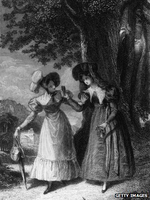 Elinor Dashwood talking to Lucy Steele in a scene from Jane Austen's Sense And Sensibility