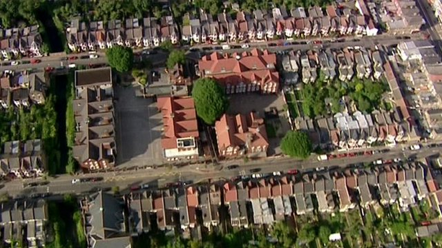 An aerial shot of housing in London