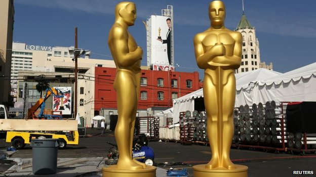 Oscar statues are shown in preparation for the 87th Academy Awards in Hollywood