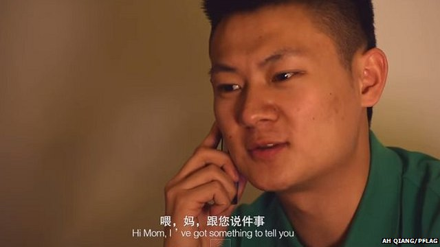Fang Chao tells his mother he's gay in the PFLAG film Coming Home