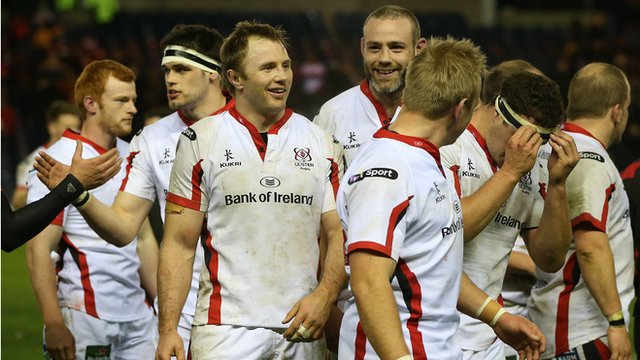 Ulster players celebrate after the final whistle