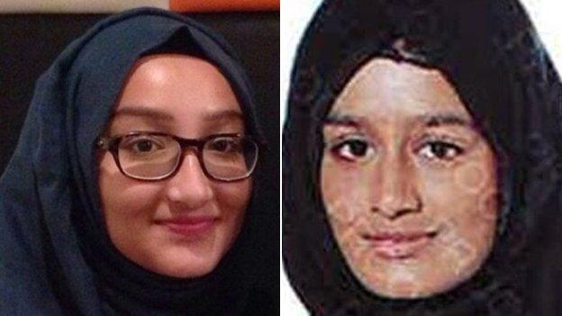 Kadiza Sultana (left) and Shamima Begum