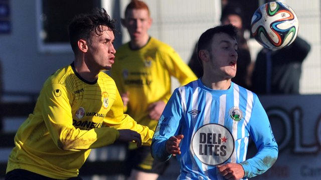 Match action from Warrenpoint against Dungannon at Millltown