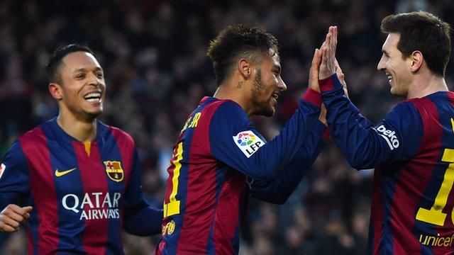 Barcelona's Neymar and Lionel Messi
