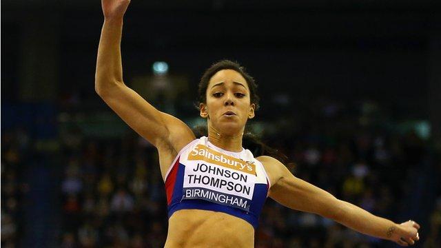 Katarina Johnson-Thompson wins the long jump at the Birmingham Indoor Grand Prix