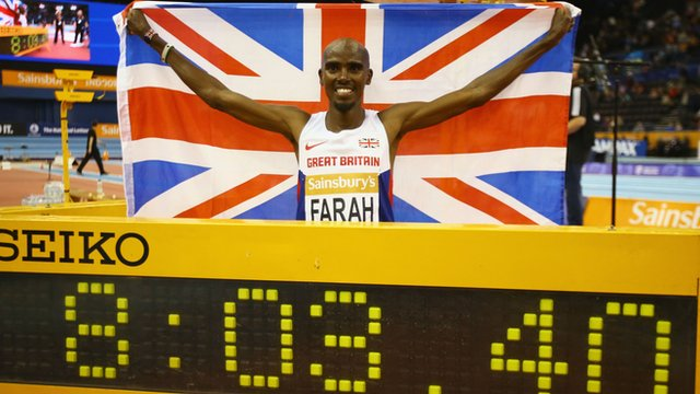Mo Farah sets indoor two mile world record in Birmingham