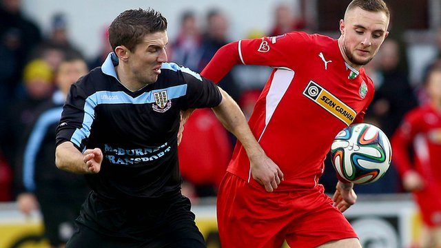 Jude Winchester in action against Ballymena