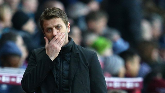 Aston Villa manager Tim Sherwood during his side's 2-1 defeat by Stoke.