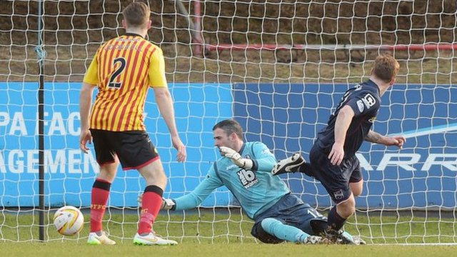 Craig Curran scores for Ross County against Partick Thistle