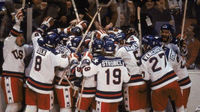 USA celebrate win over USSR