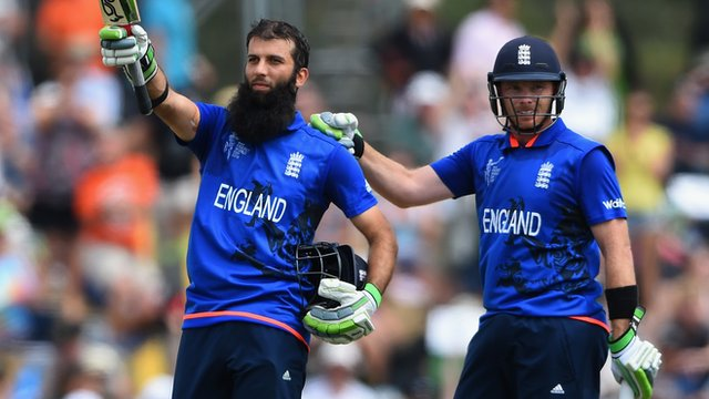 England batsmen Moeen Ali and Ian Bell celebrate during their World Cup match against Scotland