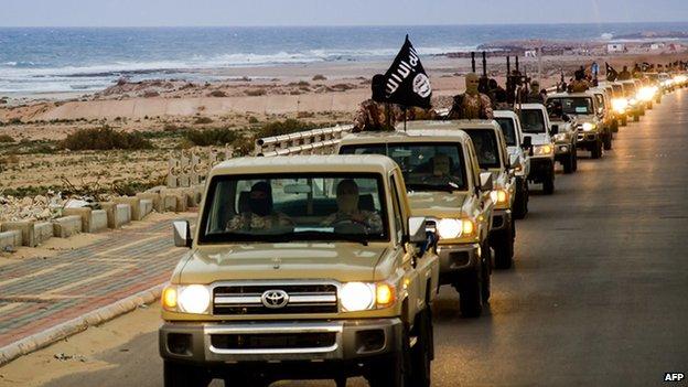 Islamic State convoy in Sirte, Libya