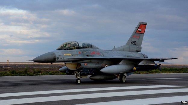 Egyptian military aircraft, preparing to strike Libya