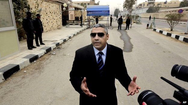 Al-Jazeera journalist Mohamed Fahmy speaks to the media outside a court in Cairo, Egypt - 23 February 2015